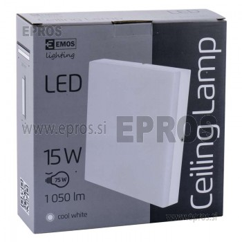 SVETILKA LED EMOS 15W Ceiling KVADRAT CW IP44