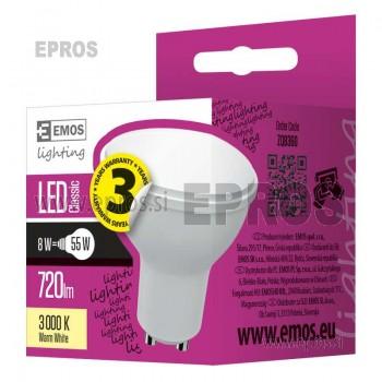 LED žarnica classic MR16 8W GU10 WW toplo bela EMOS