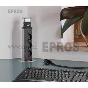 Potopna vtičnica Tower-Power namizna 3x vtičnica