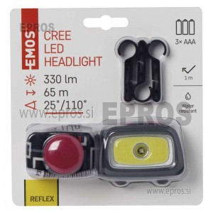 Naglavna LED svetilka COB+CREE 3xAAA, 330 lm, 65m