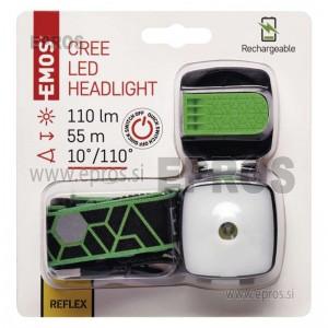 Naglavna poln.LED svetilka 3W CREE+SMD,110 lm,55m,Li-Pol 850