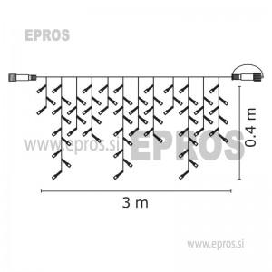 NOVOLETNE LUČKE Povezovalni niz Profi - 50 LED ledene sveče, črn, 3m, WW