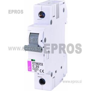 Instalacijski odklopnik - avtomatska varovalka ETI  ETIMAT 6 1p C20