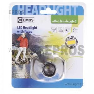 Naglavna 3W LED svetilka 1 LED 3W 3xAAA s fokusom