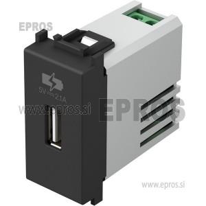 Polnilnik USB 5V 2.1A MODUL črni