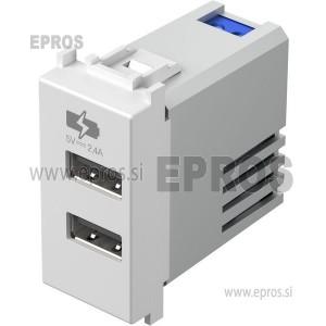 Polnilnik USB 5V 2,4A MODUL beli