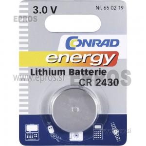 Baterija Conrad energy Lithium Batterie CR 2430