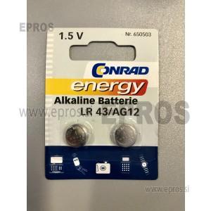 Baterija Conrad energy Alkaline Batterie LR 43 / AG12