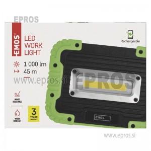 Polnilna LED delovna svetilka 10 W COB, 1000 lm, 4400 mAh