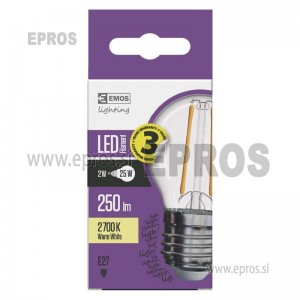 LED žarnica filament mini globe 2W E27 WW