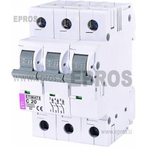 Instalacijski odklopnik - avtomatska varovalka ETI  ETIMAT 6 3p C 20