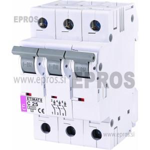 Instalacijski odklopnik - avtomatska varovalka ETI  ETIMAT 6 3p C 25