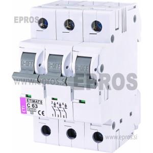 Instalacijski odklopnik - avtomatska varovalka ETI  ETIMAT 6 3p C63