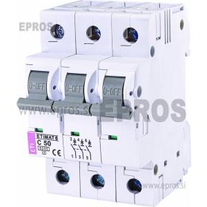 Instalacijski odklopnik - avtomatska varovalka ETI  ETIMAT 6 3p C50